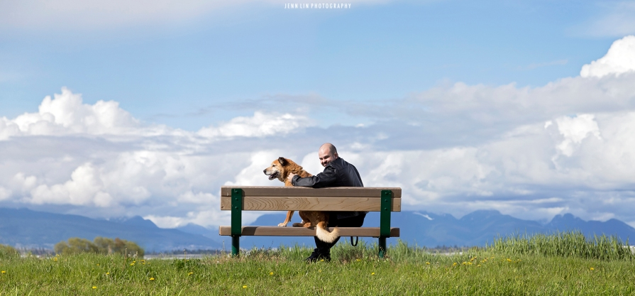 richmond, bc, river road, man and his dog, park bench, clouds, mountains, dog, portrait photographer