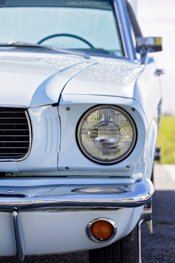 Ford, Mustang, Vintage, baby blue, light blue, sky blue, car, car photoshoot, car shoot, front view, headlight