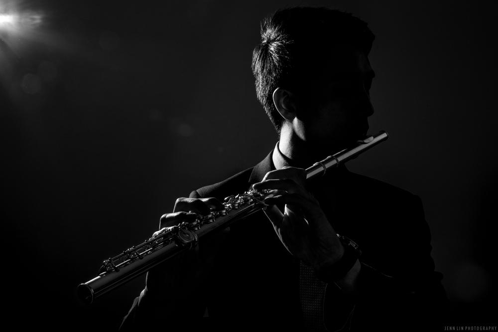Musician Portrait, Flute Player, Silhouette, Outline