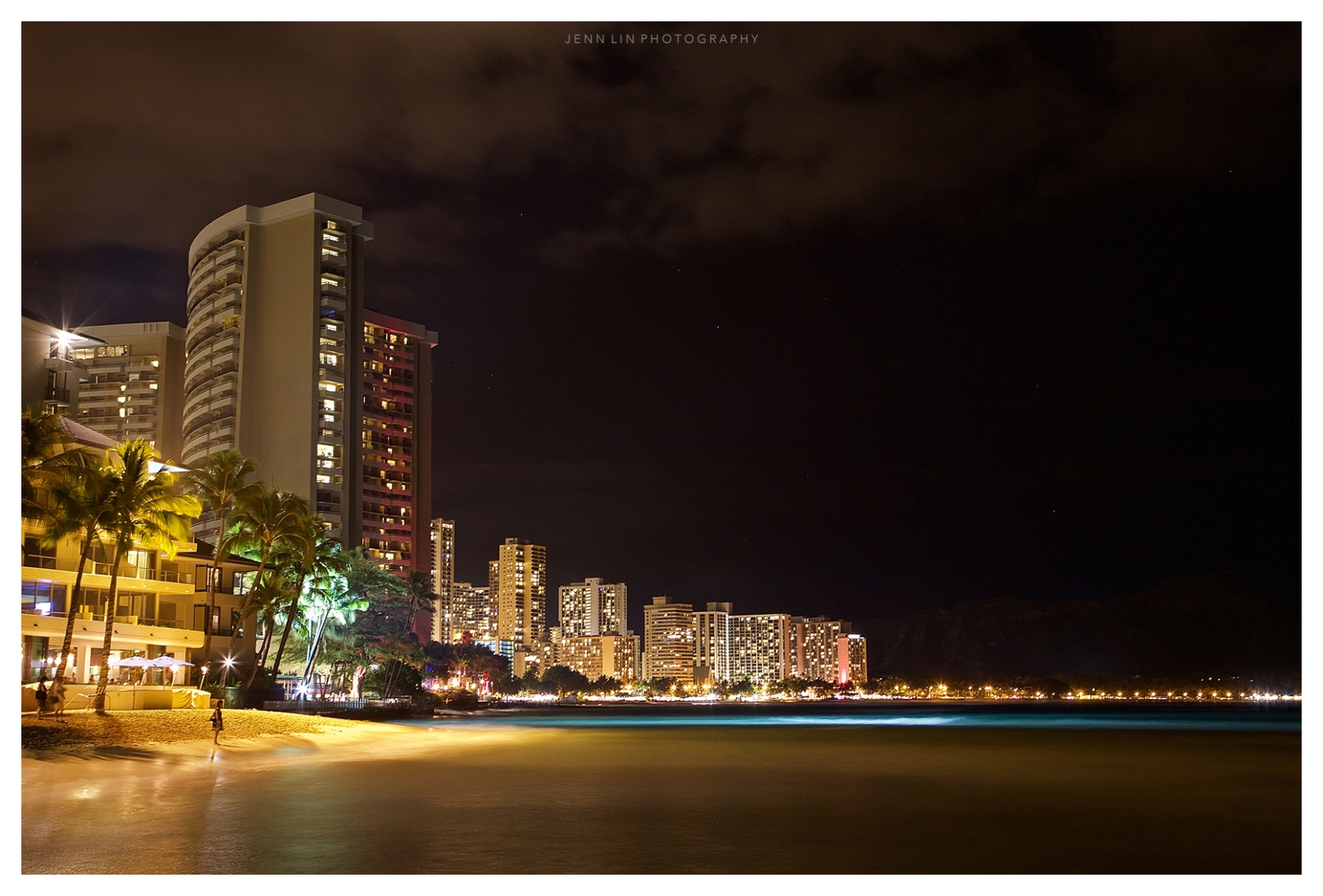 Long exposure at Waikiki Beach in Honolulu, Hawaii